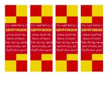 Gryffindor Harry Potter House - Sorting Hat Song Quote Bookmark