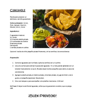Guacamole Recipe and Class Activity