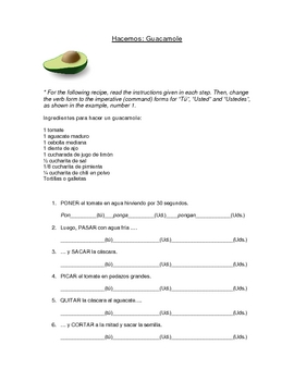 guacamole spanish commands imperative worksheet by bilingual worksheets. Black Bedroom Furniture Sets. Home Design Ideas
