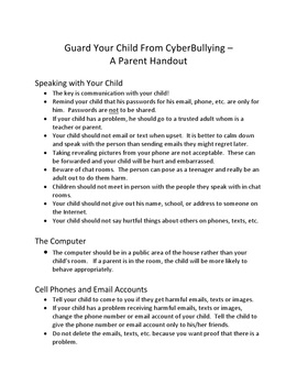 Guard Your Child From CyberBullying – A Parent Handout