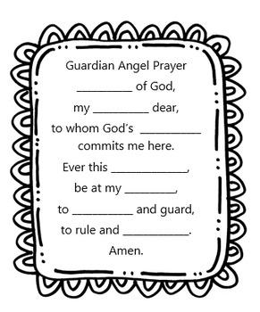 guardian angel prayer worksheet by little miss catechist blog shop. Black Bedroom Furniture Sets. Home Design Ideas