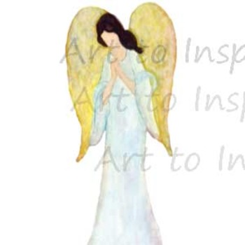 Guardian Angel praying clip art-- Digital downloads religious--angel art