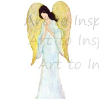 Guardian Angel praying clip art-- Digital downloads religi