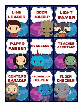 Guardians of the Galaxy Class Job Cards