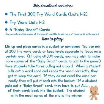 Guardians of the Galaxy Fry Words Game! Contains the First 300 FRY Words
