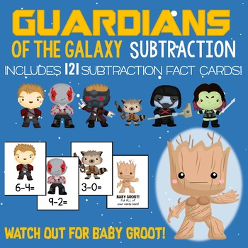 Guardians of the Galaxy Subtraction Facts Game!  121 Cards - Facts 0-10