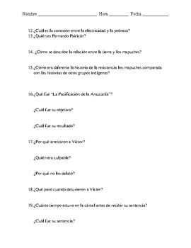 Guerra en el Bío Bío - Radio Ambulante - Comprehension Questions