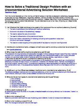 Guerrilla Marketing & Advertising Article Teachers Anser Key