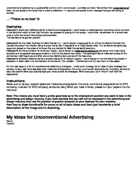 Guerrilla Marketing & Advertising Article w/ Writing and/or Drawing Assignments