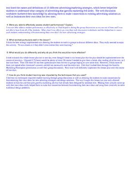 Guerrilla Marketing & Advertising PowerPoint Lesson Plan