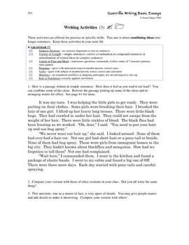 Guerrilla Writing Basic Essays Ch 15 Writing Activities