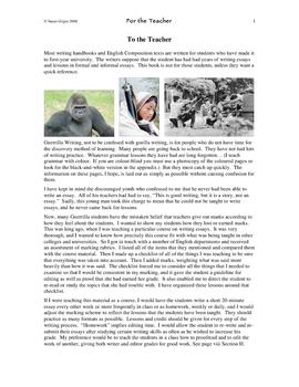 Guerrilla Writing Basic Essays For the Teacher 1