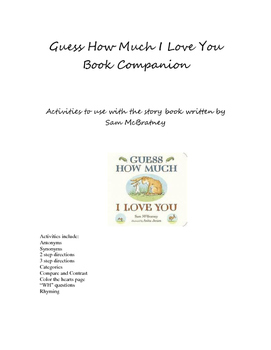 Guess How Much I love You Book Companion - Valentine Heart Theme