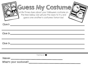 Guess My Costume Halloween homework
