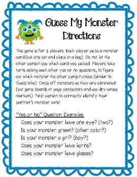 Guess My Monster Game