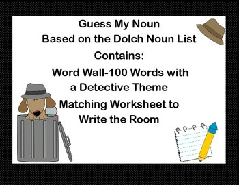 Guess My Noun-A Word Wall and Write the Room Activity-Dolch Noun List
