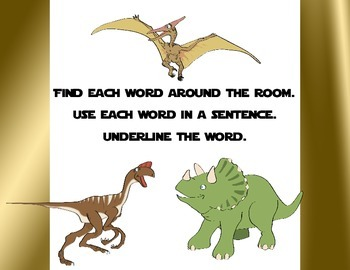 Nouns-Guess My Noun Write the Room Activity-Dolch Noun List-Dinosaurs