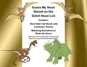 Guess My Noun- Write the Room Activity-Dolch Noun List-Dinosaurs