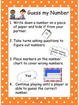 Guess My Number - Kindergarten Math Game