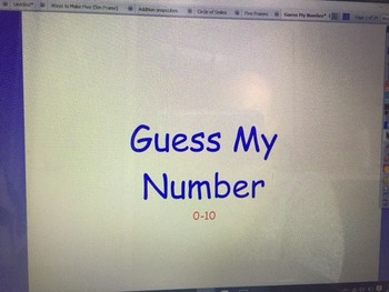 Guess My Number (recognizing numbers in a ten frame)