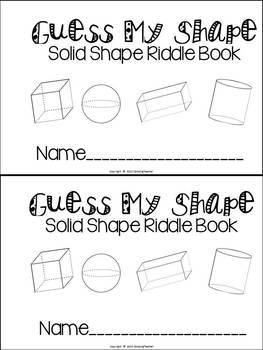 Guess My Shape Solid Shapes Riddle Book Activity
