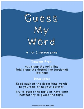 Guess My Word vocabulary activity