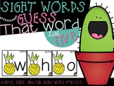 Guess That Sight Word {List Five}