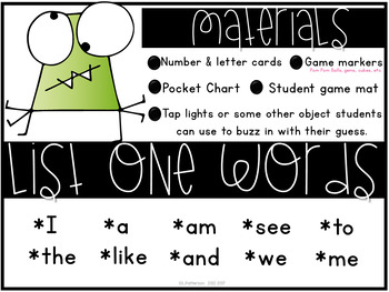 Guess That Sight Word {List One}