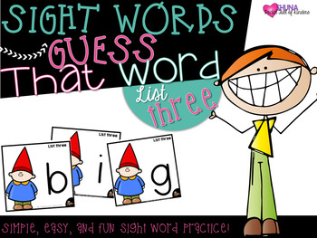 Guess That Sight Word {List Three}