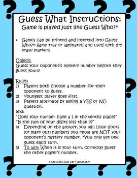 Guess What? Decimals: Plays Just Like Guess Who (Even Fits Game Trays!)