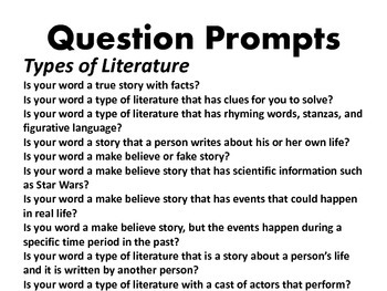 Guess What? Types of Literature, Story Elements, & Text Features