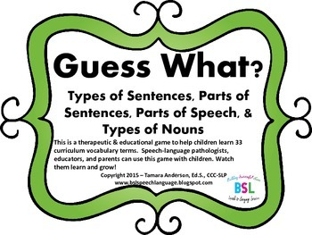 GuessWhat? Types of Sentences,Parts of Sentences,& Parts o