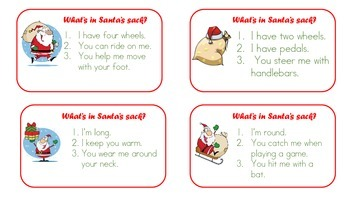Guess What's in Santa's Sack?  BINGO Inference Activity