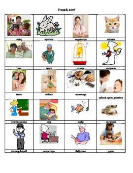 """""""Guess Who #1?"""" game (professions)-- world language (novice)"""