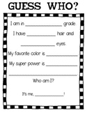 Guess Who? Bulletin Board Writing Activity for Open House