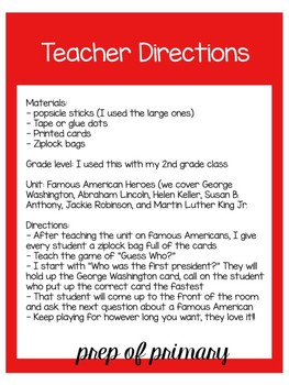 Guess Who? Famous Americans Version