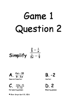 Guess Who Game - Operations on Rational Functions