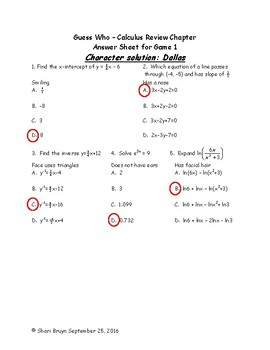 Guess Who Game - Review Chapter Calculus