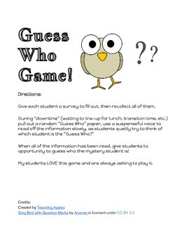 Guess Who Game Survey