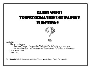 Guess Who Game - Transformations of Functions