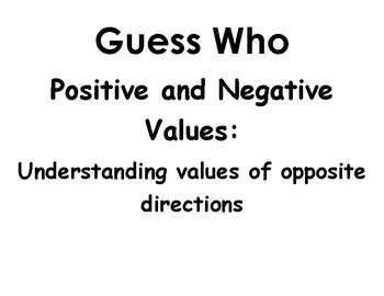 Guess Who Game for positive and Negative Values