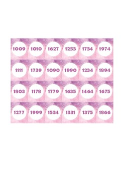 Guess Who - Guess That Number - Number Cards 1000 - 2000