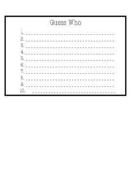 Guess Who Lesson Plan