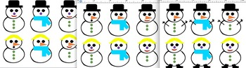 Snowman Card Games Guess Who?  Attributes Game and Matching Card Activities