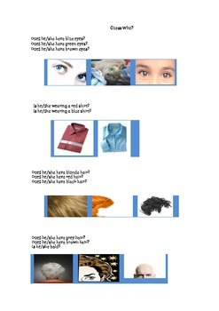 Guess Who? Student Handout in English