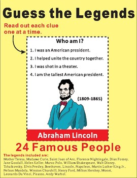 """Guess Who am I? """"Legends"""" Game Cards"""