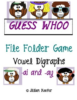 Vowel Digraph ai and ay Guess Whoo File Folder Game