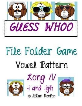 Vowel Digraph /i/ -i and -igh Guess Whoo File Folder Game