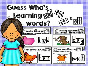 Guess Who's Learning Short E Words and Word Endings