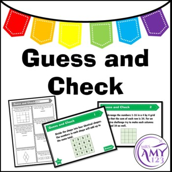 Guess and Check - Problem Solving PowerPoint, Task Cards a